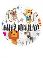 Geburtstagsballon mit Tieren und Konfetti bunt 45cm
