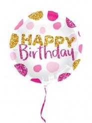Glitzernder Geburtstagsballon pink-gold 45cm