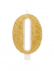 Glitzernde Geburtstags-Kerze Zahl Kuchendeko goldfarben 9,5 cm