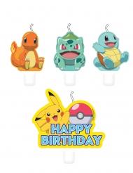 Pokémon™-Kerzen für Kuchendeko Kindergeburtstag 4 Stück bunt
