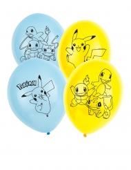 Pokemon™-Latex Luftballons Raumdekoration 6 Stück blau-gelb 30cm