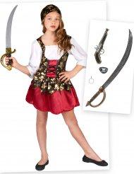 Piratin Kostüm-Set für Mädchen Seeräuberin 6-teilig bunt