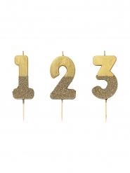 Zahlen-Kerze Tortendekoration Geburtstag gold 13,8cm
