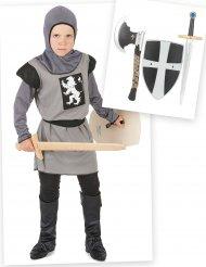 Ritter Kostüm-Set für Jungen Mittelalter 6-teilig grau-schwarz