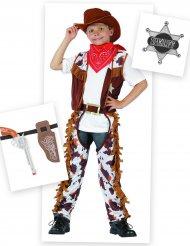 Frecher Cowboy Kostüm-Set für Jungen 6-teilig braun-weiss-rot
