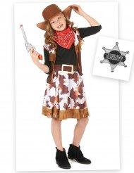 Wildes Cowboy-Kostüm-Set für Mädchen 7-teilig braun-weiss-rot