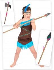 Indianerin Kostüm-Set mit Accessoire für Mädchen 4-teilig braun-türkis