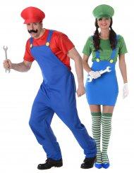 Videospiel Klempner Paarkostüm für Erwachsene rot grün blau