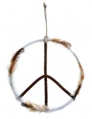 Peace-Zeichen Raumdekoration Hippie Metall 26x41cm