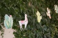 Lama-Girlande mit Kakteen Sommerparty bunt 17x25x300cm