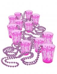 Trink-Set Shooter-Gläser mit Perlenkette 12 Stück rosa 50cm