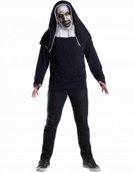 The Nun™-Latexmaske für Erwachsene Geister-Nonne weiss-grau-rot