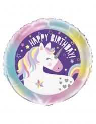 Einhorn-Ballon Happy Birthday Partyzubehör bunt 45 cm