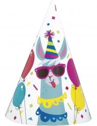Partyhüte-Lama Zubehör für Geburtstage 8 Stück bunt