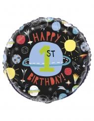 Folienballon 1. Kindergeburtstag Weltall Raumdeko bunt 45cm