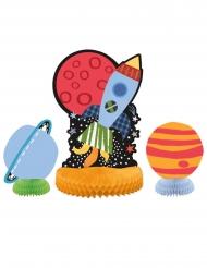 Weltall-Tischdecko Raumschiff & Astronauten 3-teilig bunt