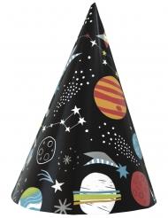 Weltall-Partyhüte Partyzubehör für Mottopartys 8 Stück bunt