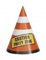Baustellen-Partyhüte Leitkegel Partyzubehör 8 Stück bunt