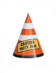 Partyhüte Leitkegel Partyzubehör 8 Stück orange-weiss-gelb 14cm