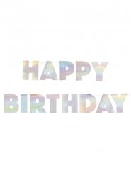 Schimmernde Happy Birthday-Girlande Raumdekoration silber 2,20 m