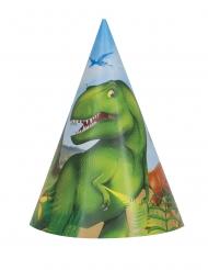 Partyhüte Dinosaurier Partyzubehör Kindergeburtstag 8 Stück bunt