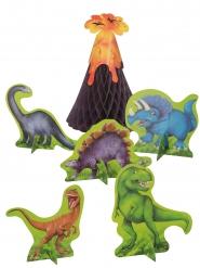 Lustige Dinosaurier-Tischdekoration 6-teilig bunt