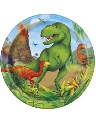 Dinosaurier Pappteller Partyzubehör 8 Stück bunt 18cm