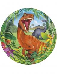 Wilde Dinosaurier-Pappteller Tischzubehör 8 Stück bunt 23cm