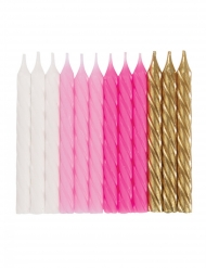 Geburtstags-Kerzen Backzubehör 24 Stück rosa-weiss-gold