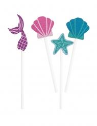 Party-Picker mit Meerjungfrauen-Motiv 8-teilig blau-lila-pink