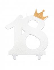 Kerze zum 18. Geburtstag Zahl 18 weiss-gold 12 cm