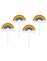 Regenbogen-Kerzen Tortendeko für Kindergeburtstage 4 Stück bunt 8 cm