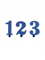 Glitzernde Zahlenkerze für Geburtstage Backzubehör blau 9,5 cm