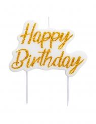 Happy Birthday-Geburtstagskerzen Tortendeko weiss-gold 8 x 6 cm
