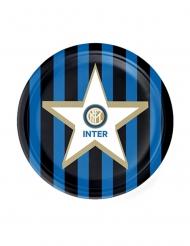Inter Mailand™-Pappteller Fan-Zubehör Party 8 Stück blau-weiss-schwarz 18 cm