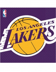 Lakers™-Servietten Basketball 16 Stück lila-gelb 33x33cm