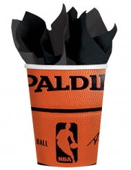 NBA Spalding™-Trinkbecher 18 Stück orange-shwarz 266ml