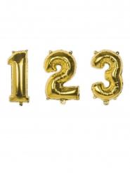 Ziffern-Aluminium-Ballon Partyzubehör gold 35cm
