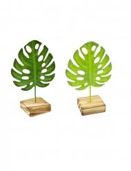 Tropenblatt-Deko aus Holz und Metall 15 cm braun-grün