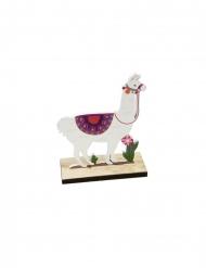 Lama-Figur aus Holz Tischzubehör Party-Artikel bunt 10x4,2x13cm