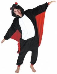 Fledermaus-Overall Halloween-Kostüm für Erwachsene schwarz-rot-weiss