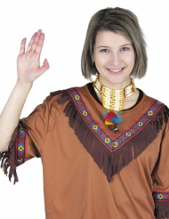 Indianer-Halskette Kostüm-Accessoire für Erwachsene gelb-weiss