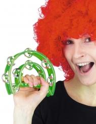 Spassiges Tamburin Clown-Accessoire für Karneval grün-silberfarben 40 cm