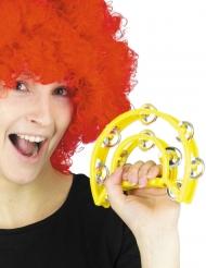 Musikinstrument Tamburin Faschings-Accessoire gelb 40 cm