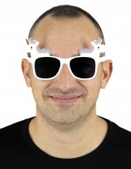 Einhorn-Spaßbrille Kostüm-Accessoire für Erwachsene weiss