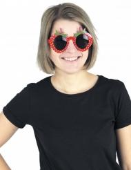 Lustige Spaßbrille Erdbeere Kostümzubehör für Erwachsene rot-grün