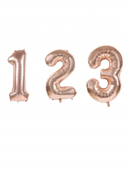 Zahlen-Folienballon Raumdekoration roségold matt 36 cm