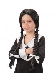 Schulmädchen Perücke mit geflochtenen Zöpfen für Kinder schwarz