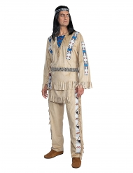 Winnetou™-Indianer-Kostüm für Herren Faschings-Verkleidung beige-blau