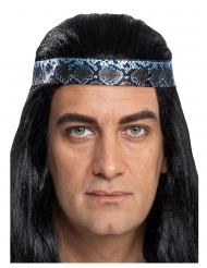 Winnetou™-Haarband für Herren Kopfband für Indianer blau-braun